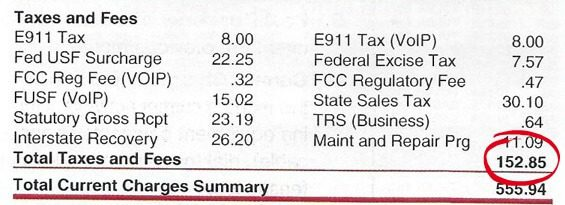 business phone bill taxes and fees