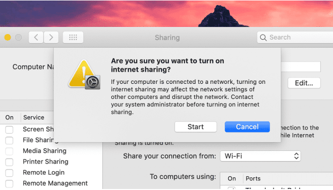 tethering macOS or apple laptops to share internet